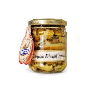Hubové carpaccio v olivovom oleji